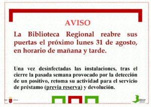 Biblioteca Murcia aviso